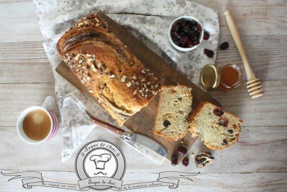Banana bread aux cranberries et noix